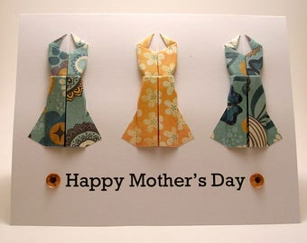Origami Dress Mother's Day Card (yellow blue)