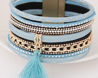 x 1 leather bracelet blue MULTISTRAND pattern tassel/gold/rhinestone clasp 19.5 cm goldtone metal chain