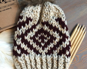 Hand Knitted Hat > Chunky Beanie With Fur Pom Pom > Fur Pom Pom Hat > Cozy Knit Beanie > Winter Hat > Chunky Knit Hat > Slouchy Beanie Hat
