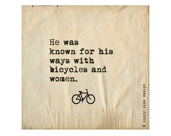 Cycling Card - He was known for his way with Bicycles....