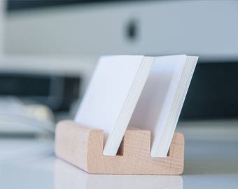 Business Card Holder Display Stand - 50 Cards Storage Capacity - Natural Beech Wood