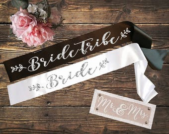 BRIDE SASH Bride Tribe Set Black and White