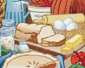 Food Cross Stitch Chart, Ready to Bake Cross Stitch Pattern PDF, Art Cross Stitch, Embroidery Chart