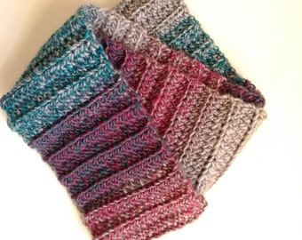 crochet cowl infinity scarf pink plum teal grey