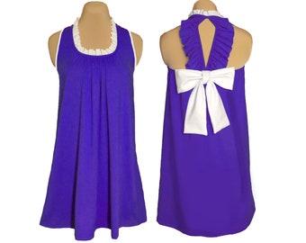 Purple + White Back Bow Dress