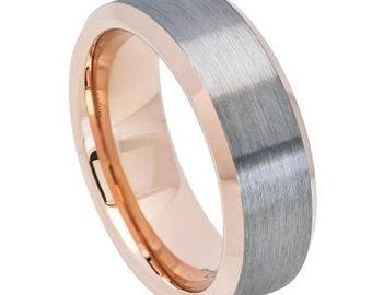 Brushed Gun Metal Finish, High Polished Rose Gold Tone IP Plated Beveled Edge Inside – 8mm