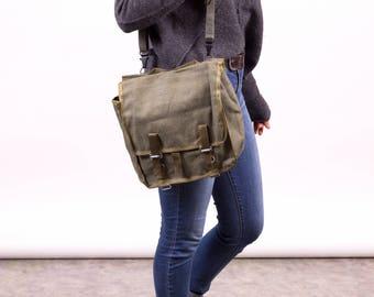 Vintage Army Messenger Bag, Green Khaki Shoulder Bag, Canvas Cross Body Soldier Bag, Army Messenger Bag, Satchel Carrier Military Bag
