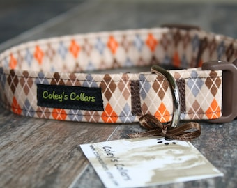 "Dog Collar, Dog Collars, Argyle Dog Collar, Boy Dog Collar, Girl Dog Collar, Male Dog Collar, Fall Dog Collar, ""The Bookworm in Brown"""
