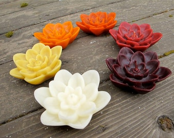 Choose ONE Floating LOTUS Beeswax Candle - Your Choice of 6 Colors