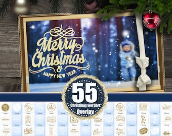 55 Christmas Gold Wordart overlay, Digital Stamps, Holiday Card, Word Art, Clipart, Clip Art, Elements, Text, Scrapbooking, png file