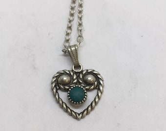 Vintage Turquoise Heart Sterling Silver necklace