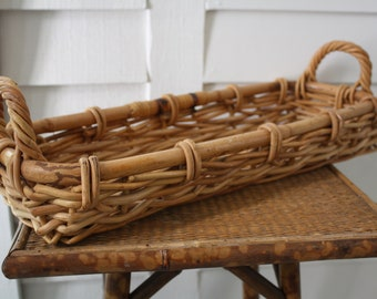 long basket with handles, rattan basket, Boho Chic, woven basket, French bread basket, farmhouse, French country