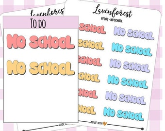 No school planner stickers, planner words stickers, stickers for use with erin condren life planner/happy planner/personal, PF008