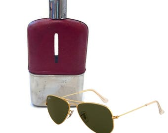 Vintage Flask Leather Flask Glass Flask Liquor Flask Red Leather Glass 1970's To Go Bottle Chrome Slim Travel Decanter