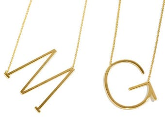 Side large initial necklace