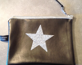 Gray faux leather clutch, silver glitter star