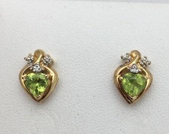 Heart Shaped Peridot and Diamond Stud Earrings - 10K Yellow Gold