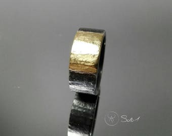 Mens ring in silver 925 oxidized and 18k gold