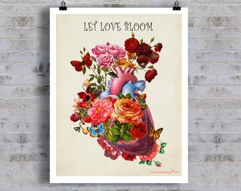 "Let Love Bloom - Heart Flowers, 11"" x 14"", Anatomy Medical print, Registered Nurse Gift, Nurse Graduation gift, Vintage Anatomy Heart print"