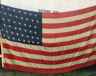 46 Star American Flag Large 1908-1912 Oklahoma U.S.