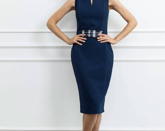 Navy Sheath Woman Dress - Short Sleeves Fitted Blue Dress - Tweed Detail in Waist - Layered Neck with Opening Dress - Contrast Backstitches