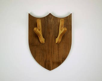Walnut and Birch antler coat rack shield