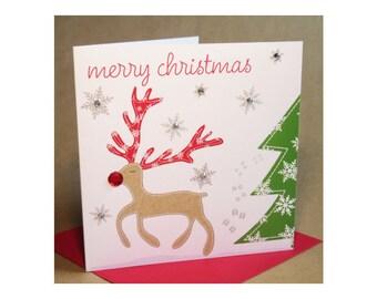 Christmas Rudolph Card  (jewelled)