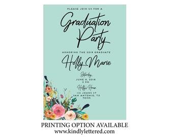 Graduation  Announcement-High School Graduation Announcement-Graduation Party-Digital File-5x7 Ask a question