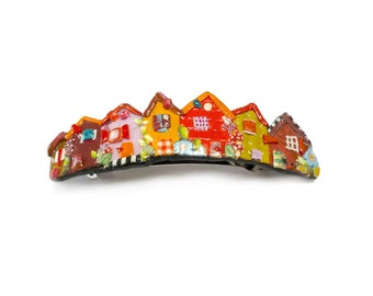 Village hair Barrette, colorful Little houses hair clip, red orange pink handmade polymer clay French barrette, Made in France hair pin 70mm