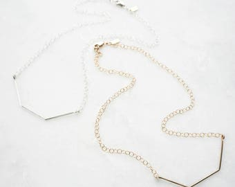 Hexagon bar necklace // everyday day necklace // bridesmaid jewelry gift // rose gold sterling jewelry // gifts for her // womens jewelry