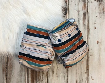 Hybrid Fitted Cloth Diaper - One Size OS - Fold Down Rise FDR - Organic - Free Wipe & Booster - Stripe Soft Washable Reusable