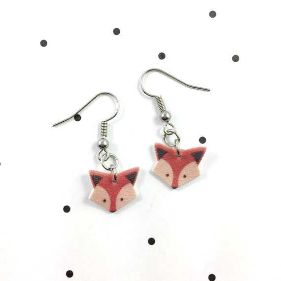 fox, orange brown, earring, pendent, earring,  plastic, stainless hook, handmade, les perles rares