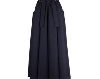 Black maxi skirt with pockets, long skirt MARLA, black wool skirt, circle skirt, custom made to order, maxi skirt for women