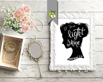 let your light shine, Matthew 5.16, independent woman's day, woman's march, cute art, inspiring, Room Decor, Strong Woman, hand lettered