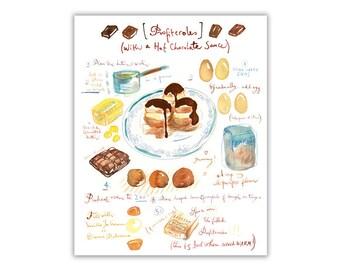 Profiteroles recipe print, Kitchen wall art, Food print, Bakery decor, Home decor, Watercolor cake painting, Gourmet print, Chocolate cake