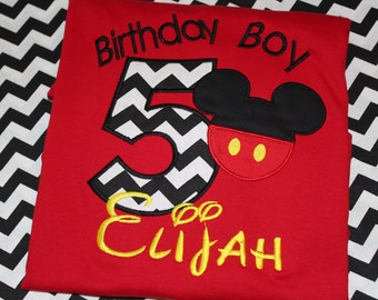 5th birthday Mickey Mouse birthday boy tshirt or bodysuit- any number
