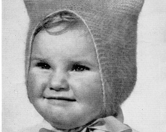 Vintage Knitting Pattern Child's Bonnet 2 to 3 years old