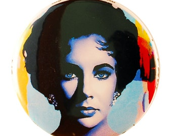 Liz Taylor Pin - pinback button by Mark Lewis Art - cop2