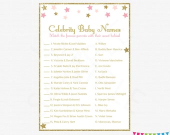 Twinkle Twinkle Little Star Baby Shower, Celebrity Baby Name Game, Pink and Gold Baby Shower, Printable Baby Shower, Instant Download, STPG