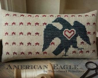 Primitive Cross Stitch Pattern - American Eagle Pinkeep