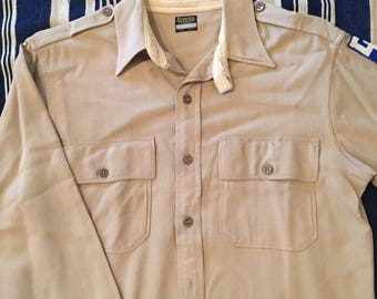Vintage 1930s-40s Military Gabardine Chin Strap Shirt Mens Medium
