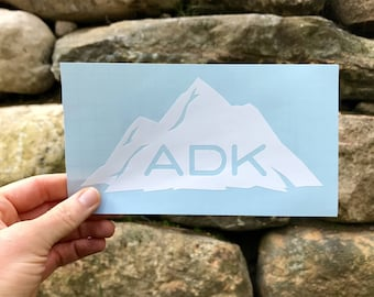 ADK on Mountain Silhouette Decal / Adk Silhouette Decal  / Hiking Decal / Camping / Mountain Sticker / Adk Decal / Adk Sticker / Upstate NY