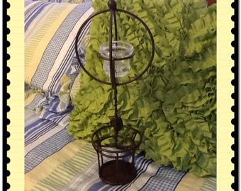 Candle Holder Vintage Wrought Iron Handmade Unique One of a Kind Brown Tint Tea Light Country Decor Home Decor Patio Porch Decor Centerpiece