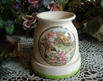 Ruby Throated Hummingbird in an English Garden!  Electric Ceramic Tart Burner