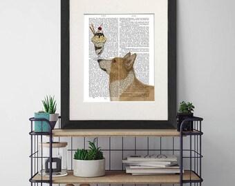 Corgi art print -  Corgi tan Ice cream dog - Corgi print  Corgi owner gift Corgi mom Corgi gift Corgi art Corgi lover gift Dog painting