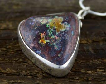 Mexican Fire Opal Pendant, opal jewelry, boulder opal, opal matrix, earth medicine, healing gemstone, chakra healing, boho pendant, rustic