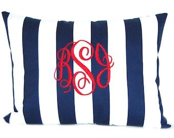 Dorm Decor - Personalized Pillow - Custom Monogram - 12 x 16 - Decorative Pillow Cover - Beach Decor - Nautical Pillow - Stripe Pillow Blue