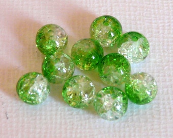 10 6mm clear Crackle glass beads
