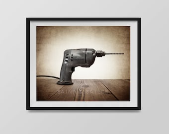 Vintage Power Drill Print, from the Vintage Carpenter Tools Collection, Boys Wall Art, Boys Room Decor, Rustic Decor