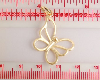 1 pc: Gold plated sterling silver butterfly pendant, vermeil, butterfly charm, 24X22mm, with jump ring, Matt. gold finish